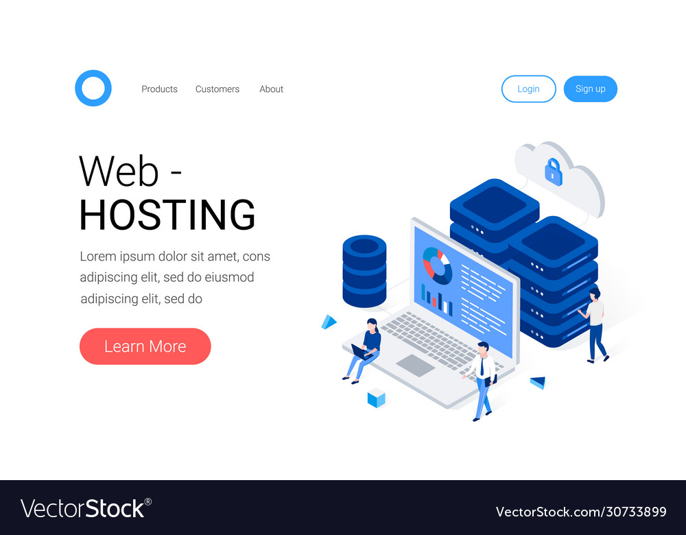 Data center and web hosting isometric concept