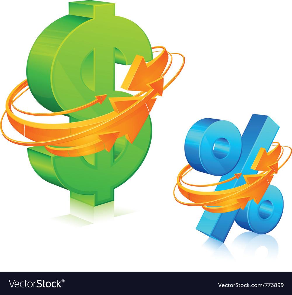 Dollar and percent symbol vector image
