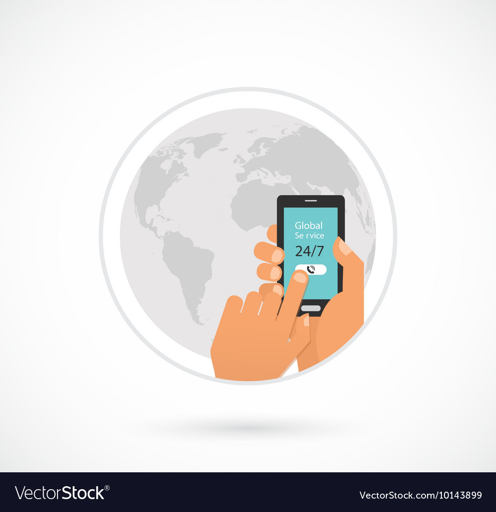 Global online and call center support hand vector image
