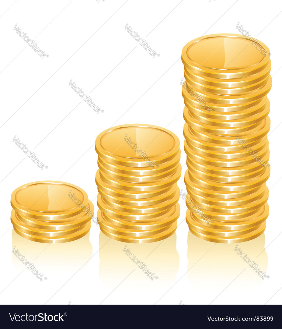 Graph of gold coins vector image