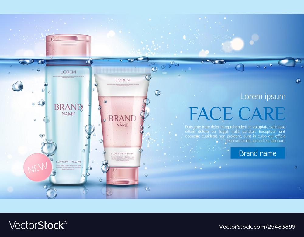 Micellar water and scrub cosmetic bottles mockup