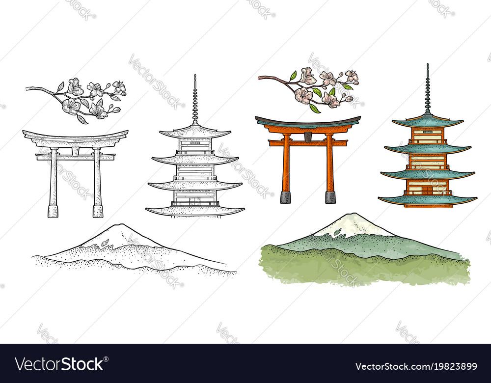 Mountain fuji in japan vintage color