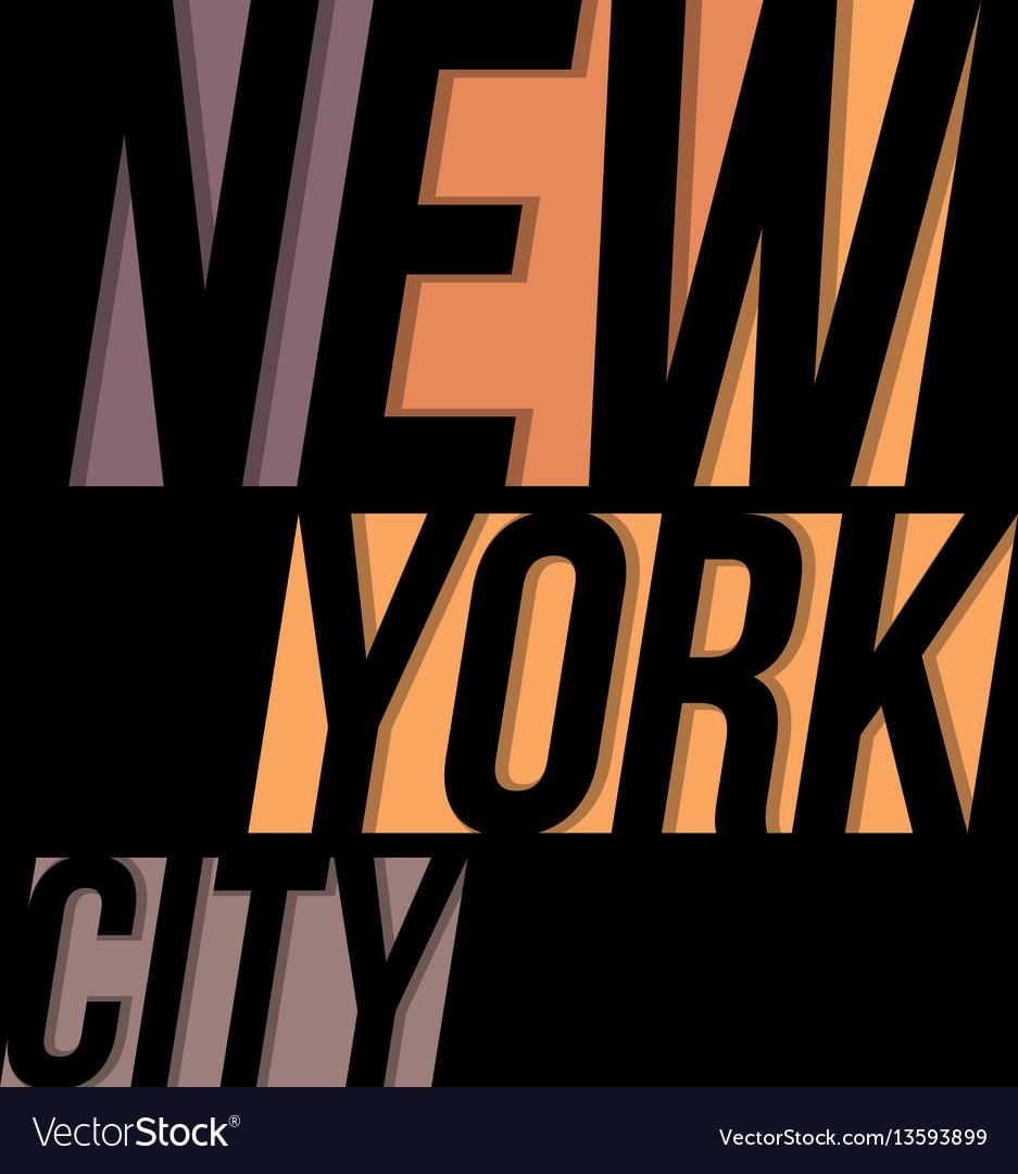 New york city t-shirt tee design typography print vector image