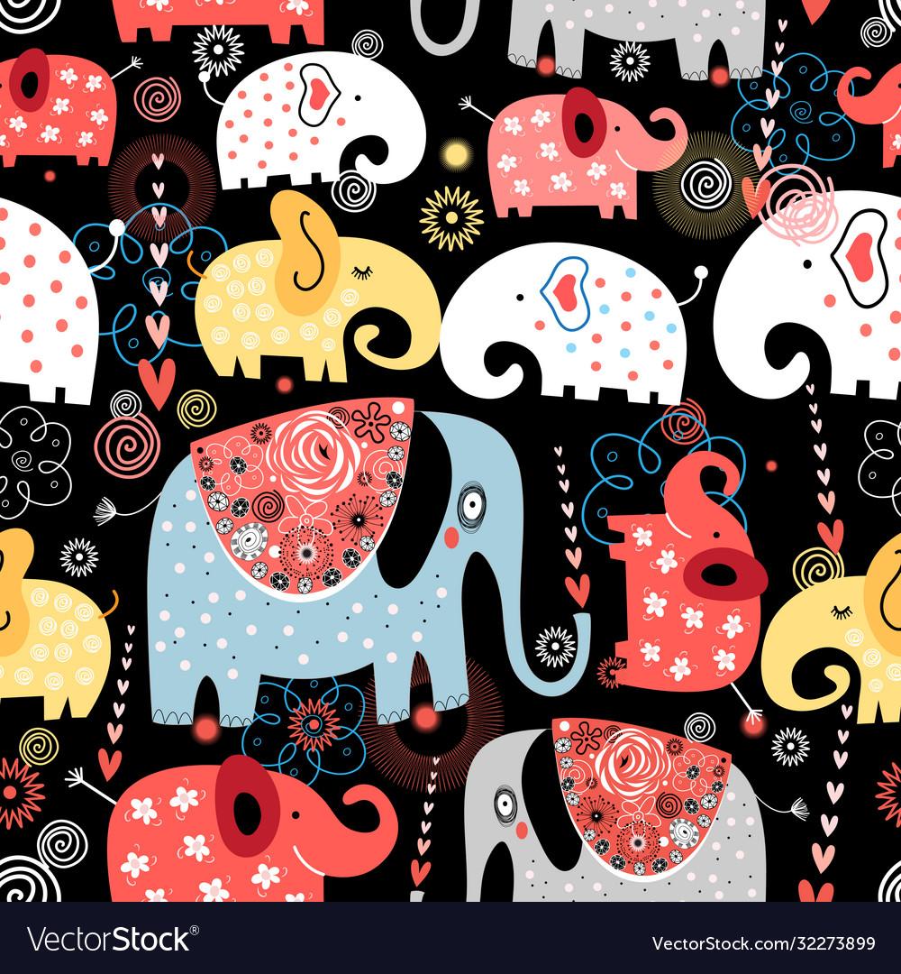 Pattern colorful elephants