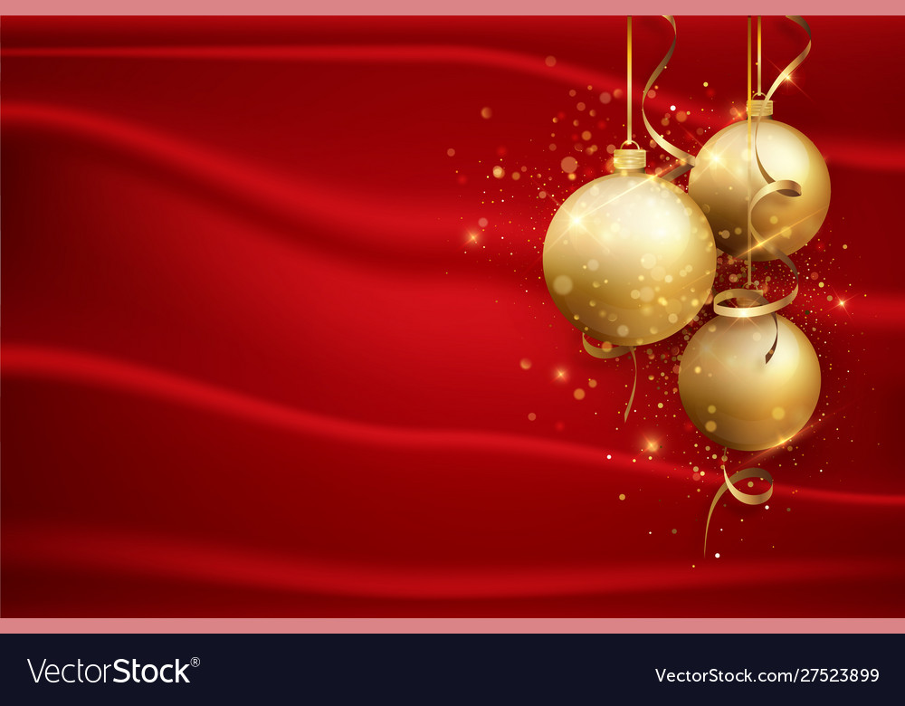 red christmas background with gold balls elegant vector 27523899
