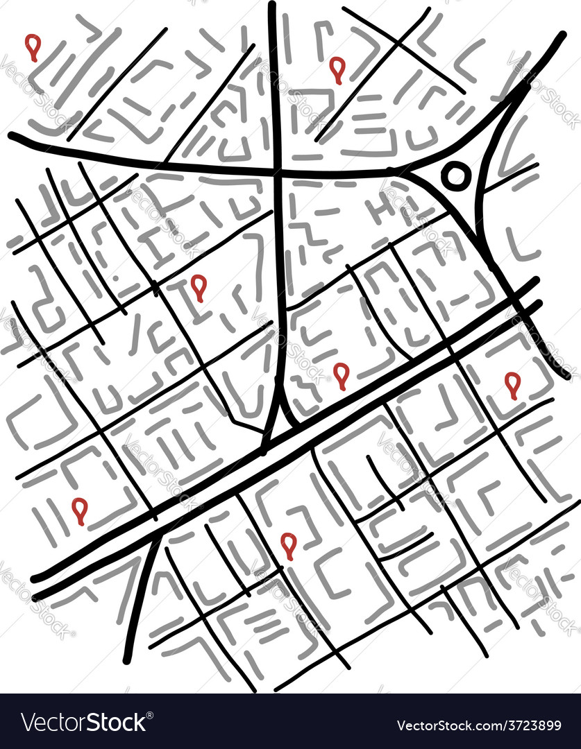 Sketch of city map for your design