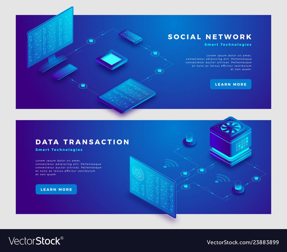 Social network and transaction concept banner