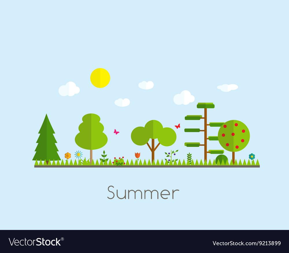 Summer Time Background in Modern Flat Design