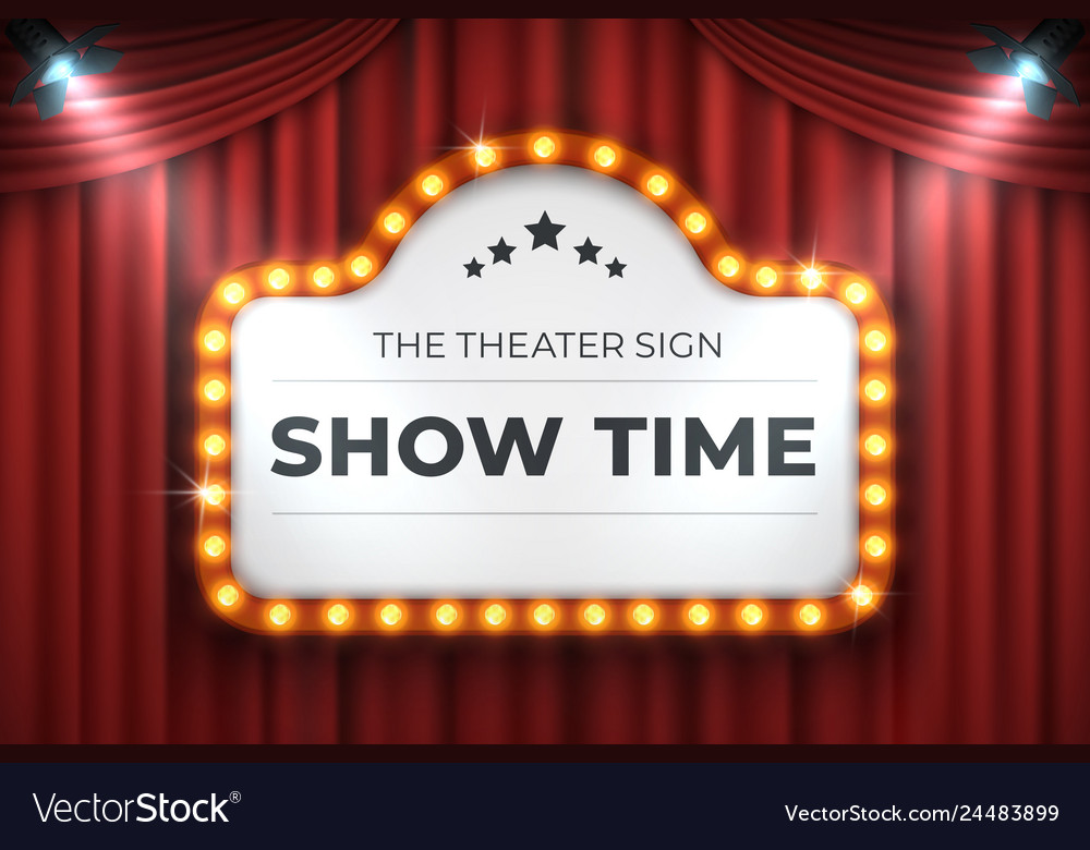 Theater cinema sign movie light frame retro