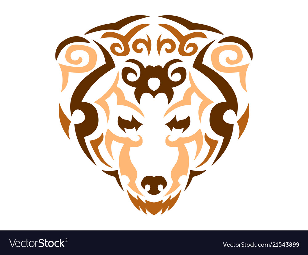 Tribal bear color animal print for t Royalty Free Vector