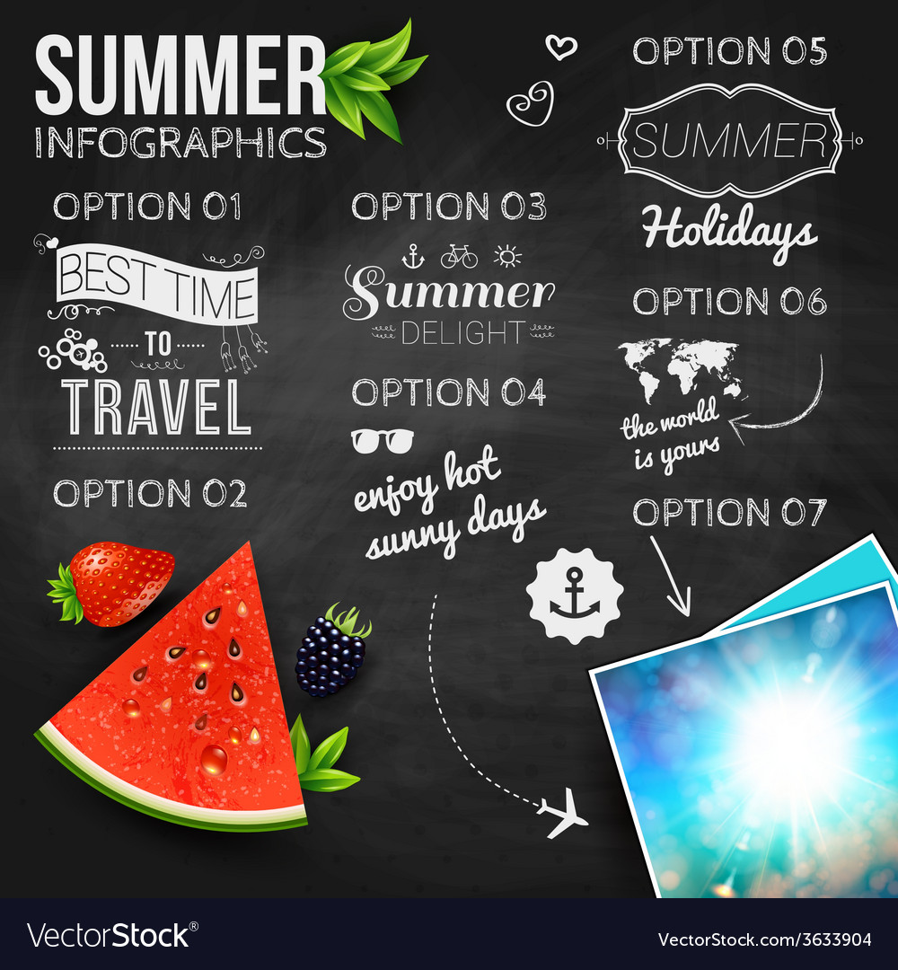 Abstract summer infographics poster with