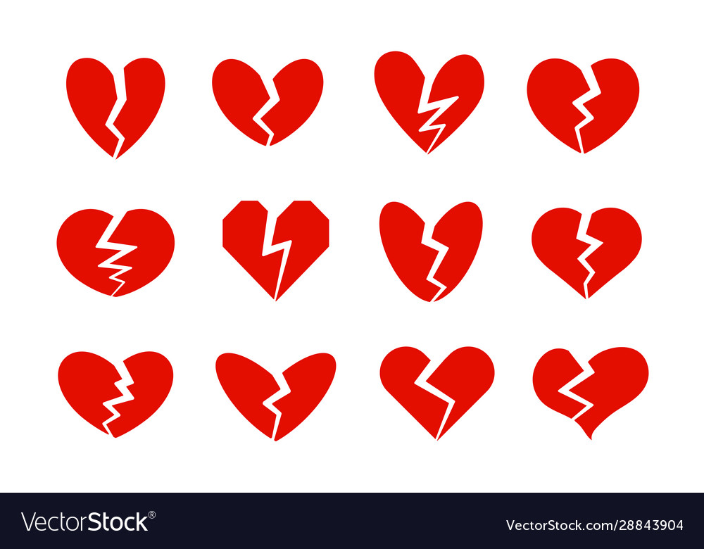 Broken hearts icons collection heart crack