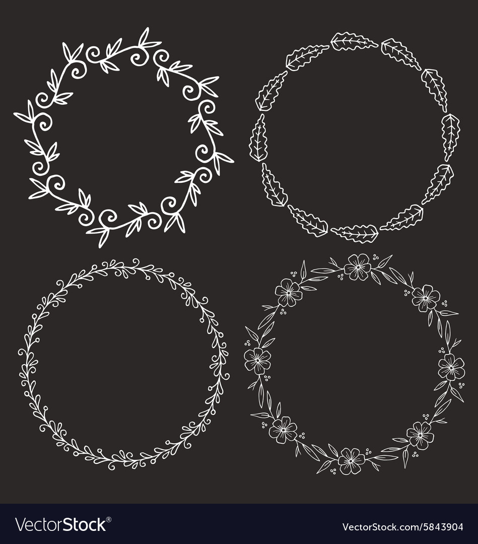Circle frames round borders hand drawn doodle