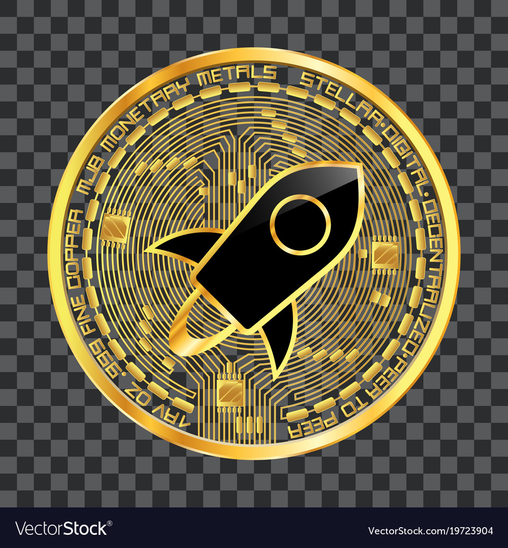 Crypto currency stellar golden symbol