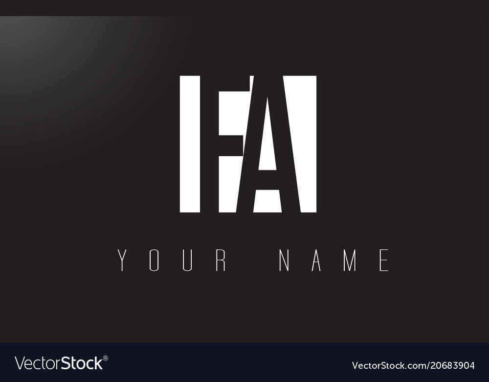 Fa letter logo with black and white negative