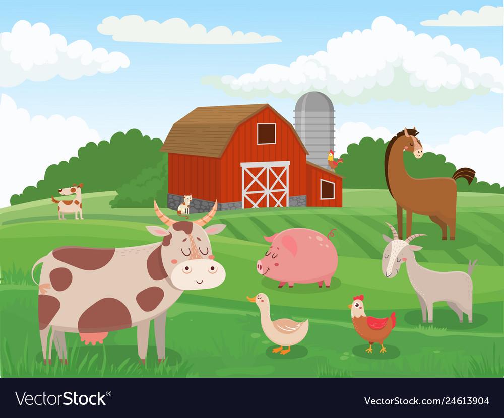 Farm animals village animal farms cows red barn