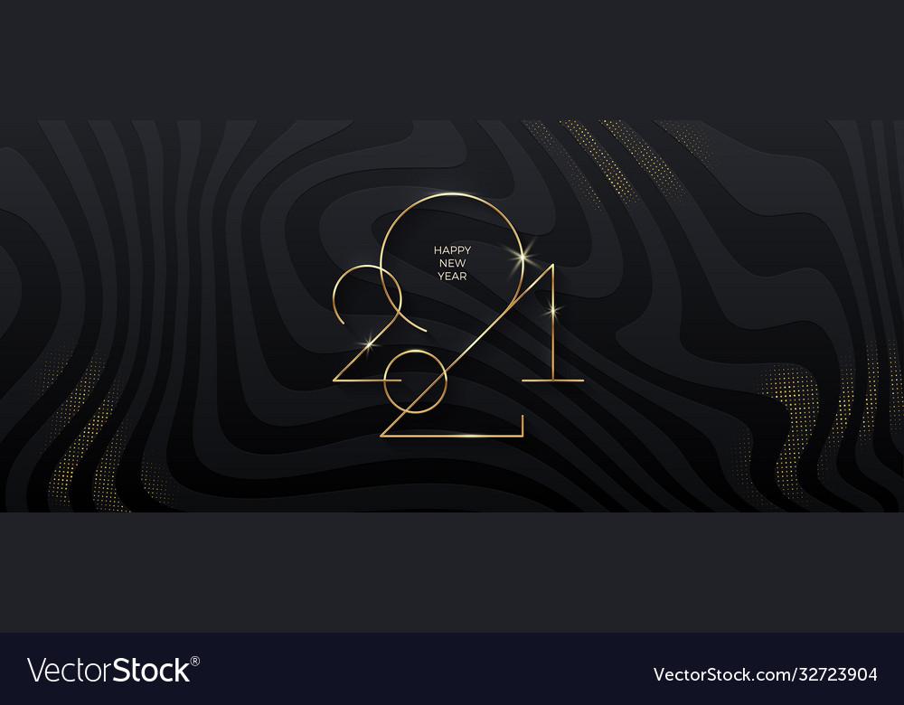 Golden 2021 new year logo on black background