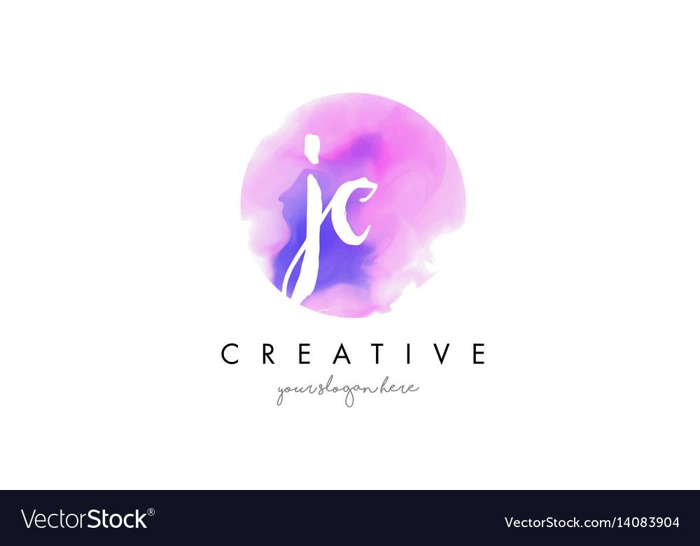 Jc watercolor letter logo design with purple