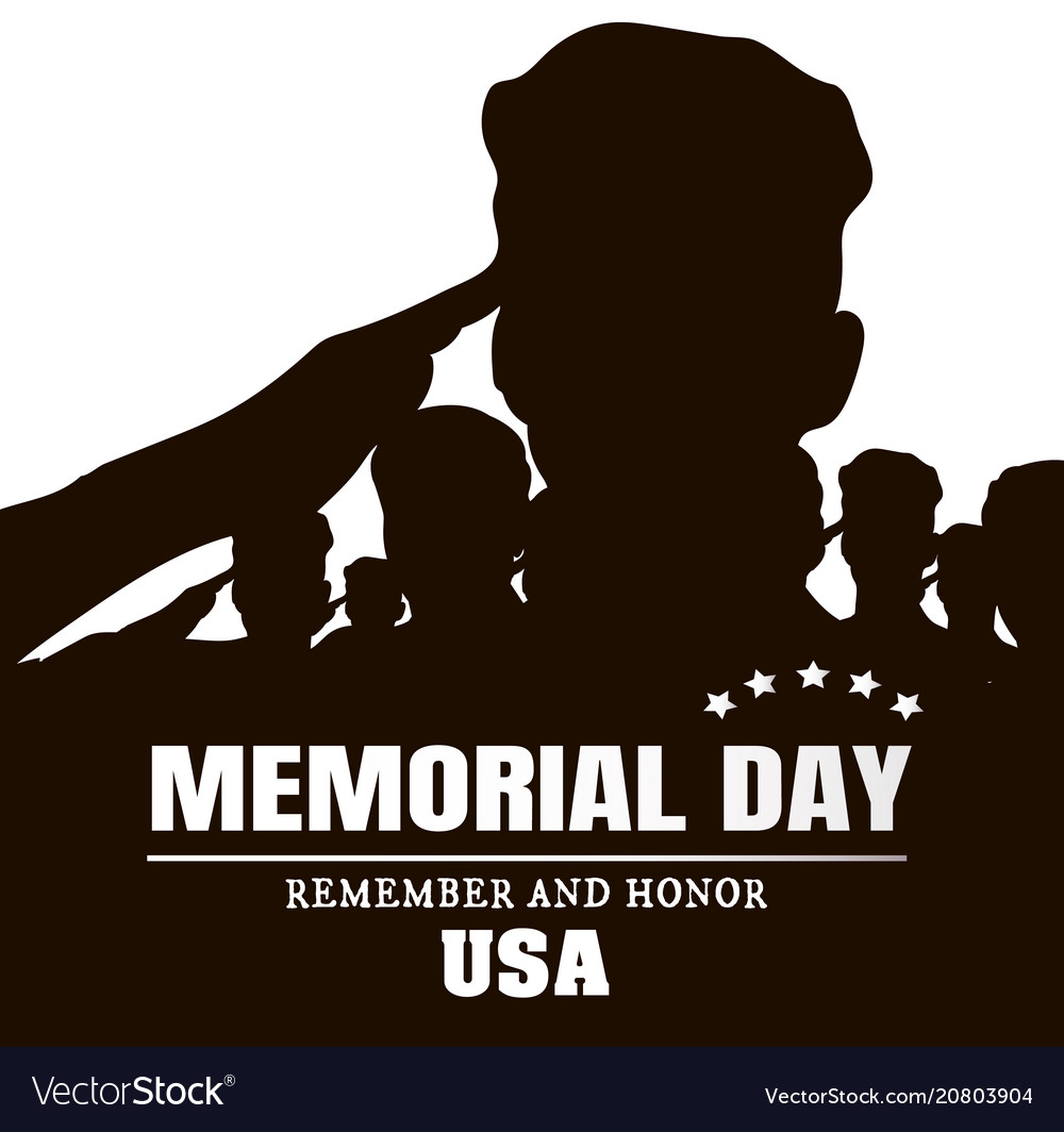 Memorial day silhouettes of soldiers black