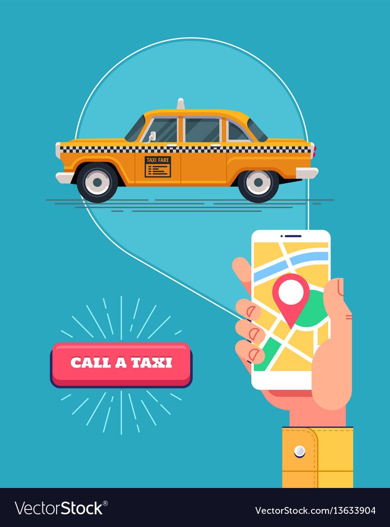 Public taxi service retro yellow taxicab