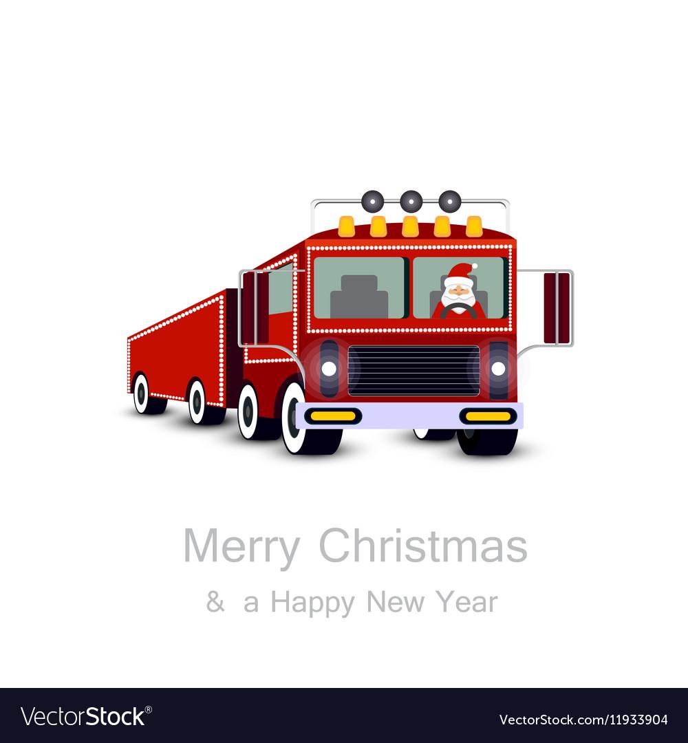 Santa Claus driving truck Christmas card vector image