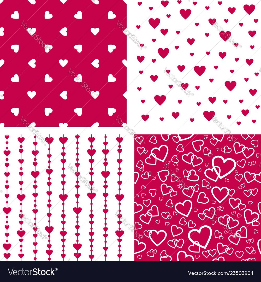 Seamless patterns with hearts valentines wedding