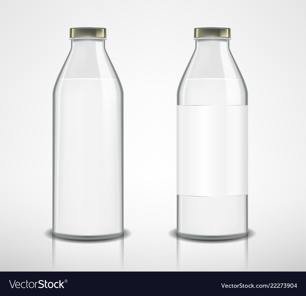 Set of glass bottles with milk isolated milk