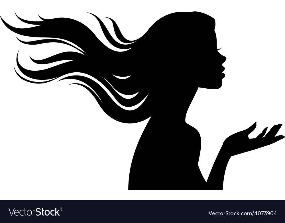 538ab6f2b Silhouette of beautiful girl in profile with long Vector Image