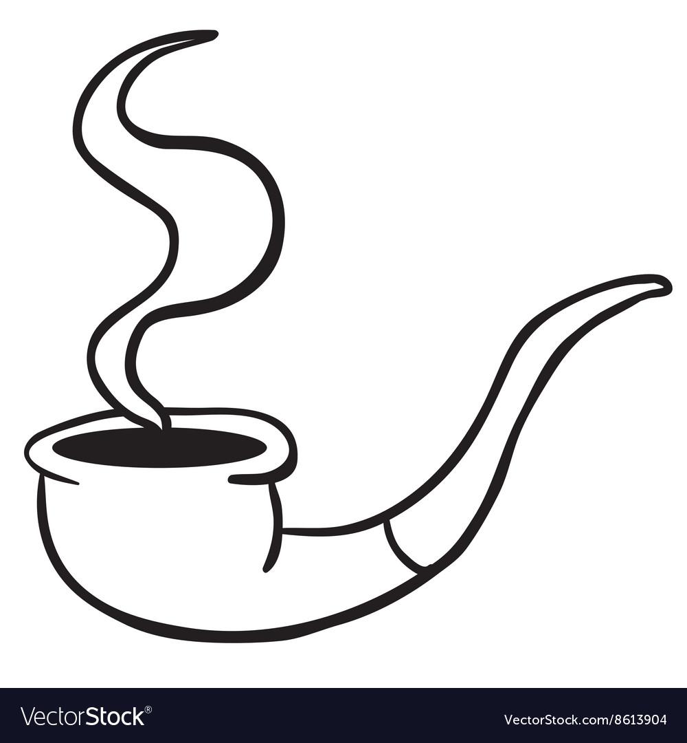 Simple black and white smoking pipe
