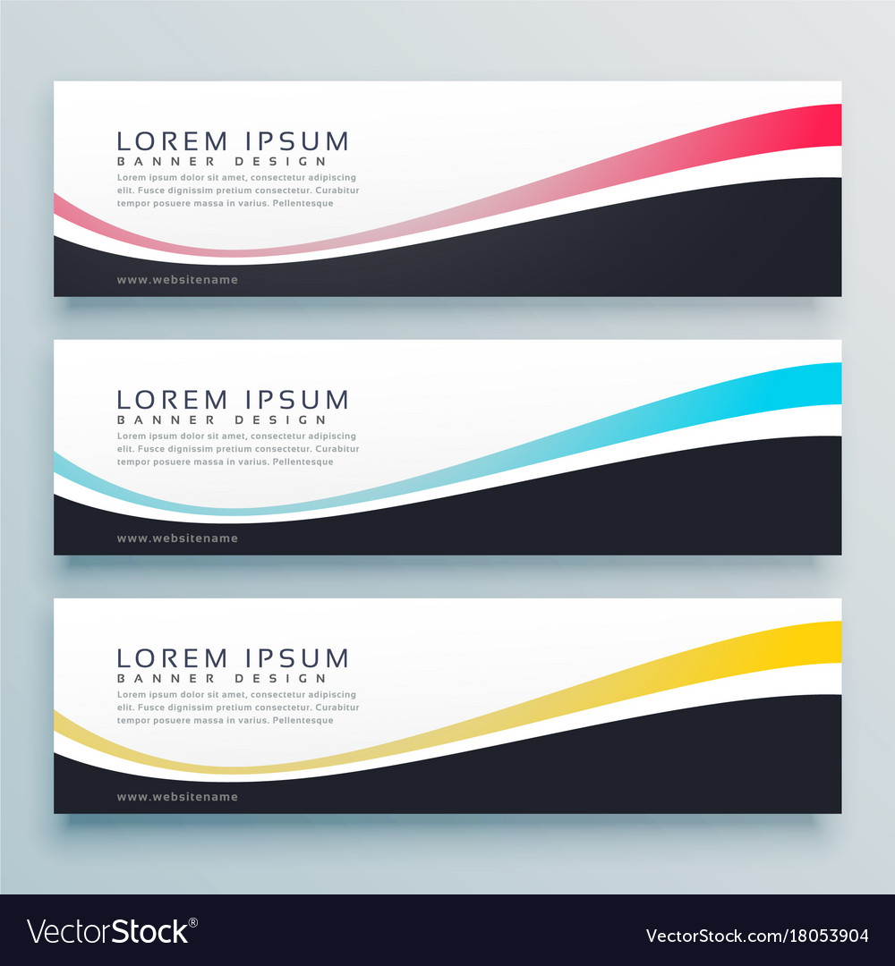 Three wavy banners design