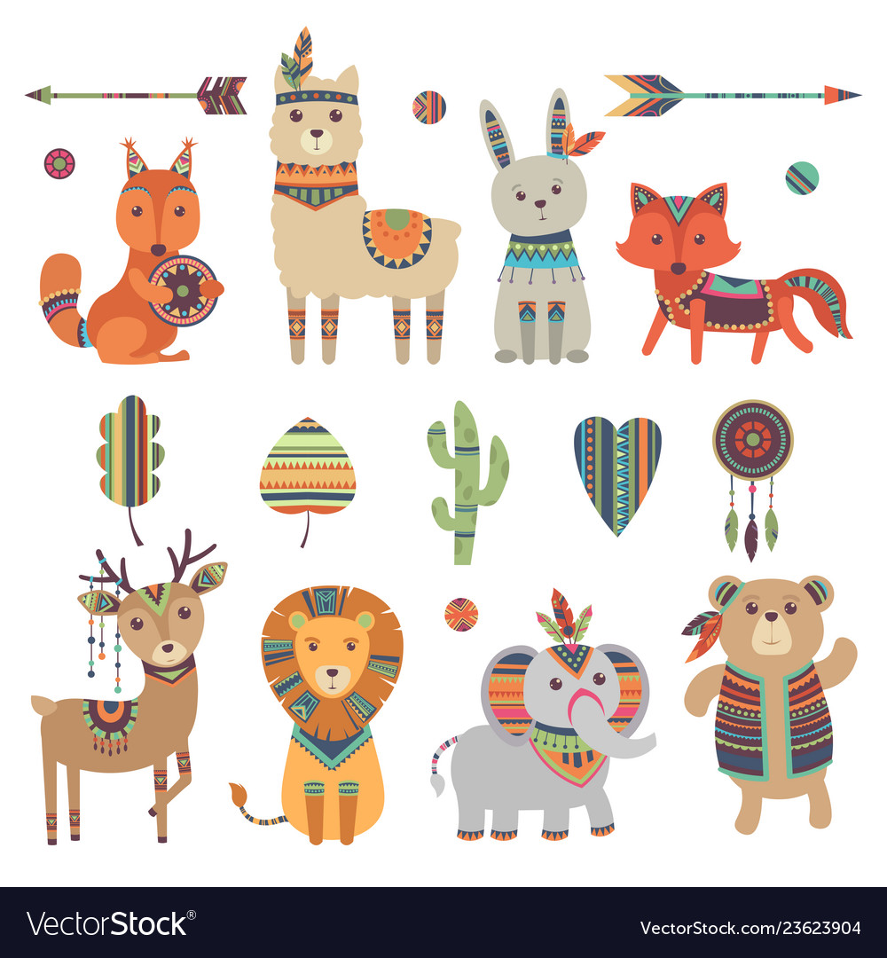 Tribal animals cute zoo squirrel llama hare fox