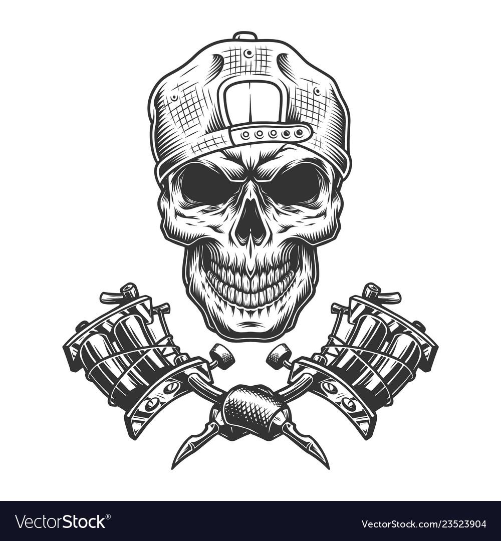 Vintage tattoo master skull in cap Royalty Free Vector Image