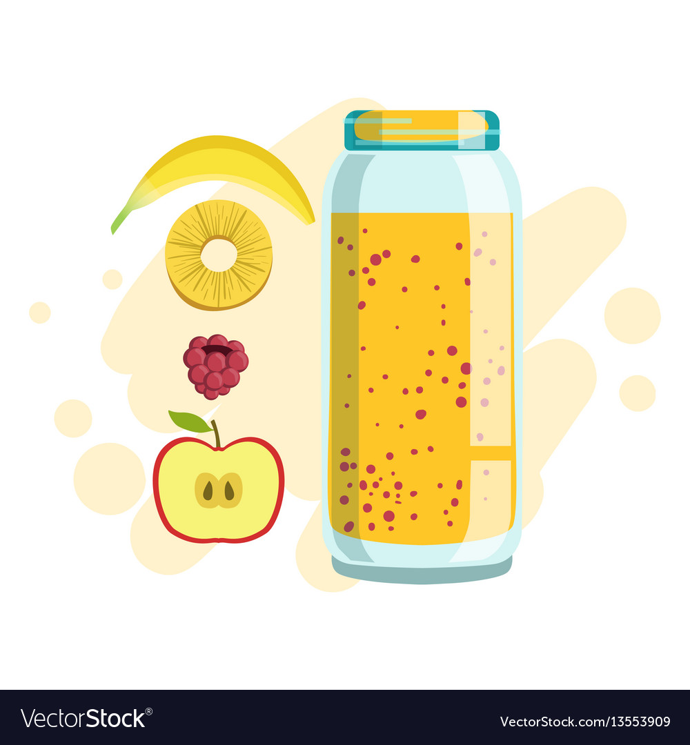 Banana pineapple and raspberry smoothie non vector image