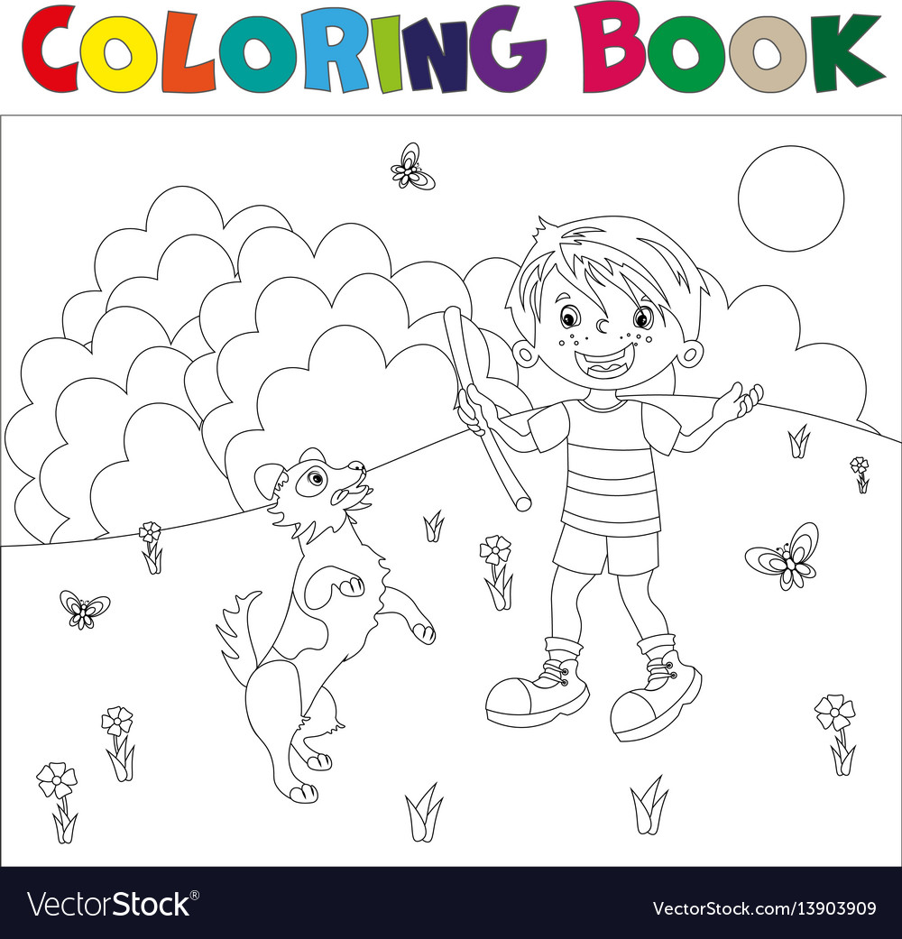Coloring page outline cartoon boy with dog
