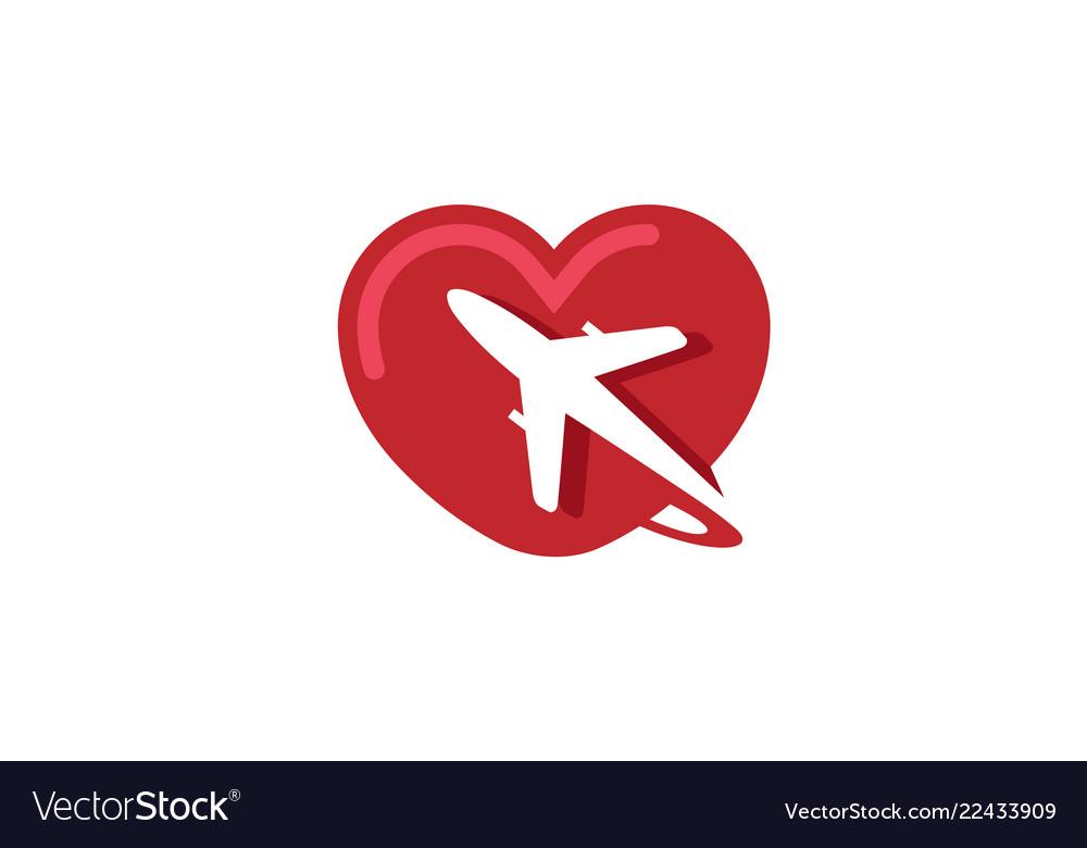 Creative heart aircraft logo