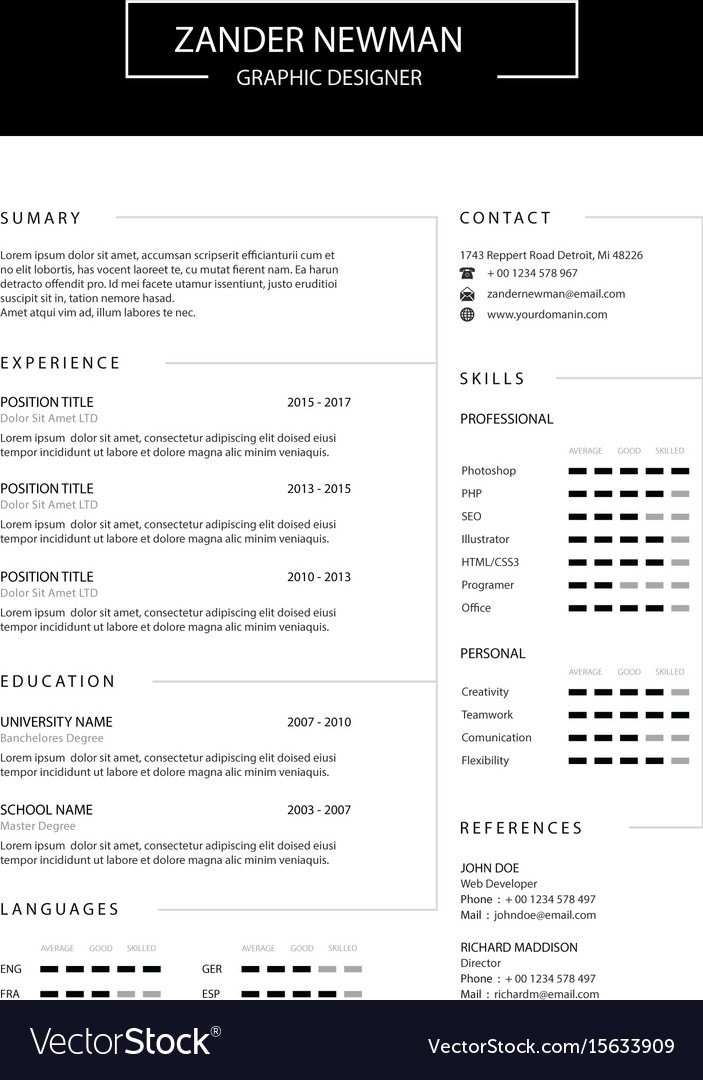 Cv resume clean design template curriculum