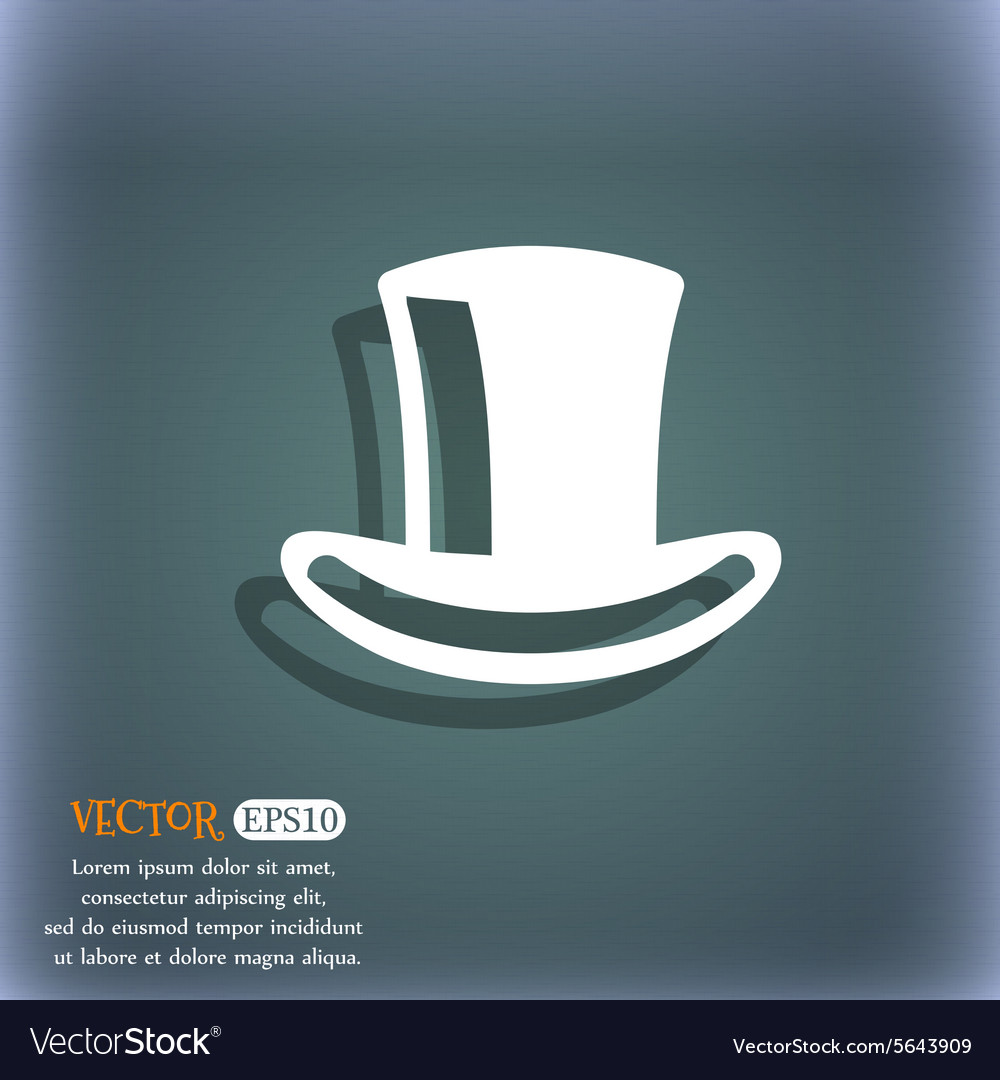 Cylinder hat icon symbol on the blue-green vector image