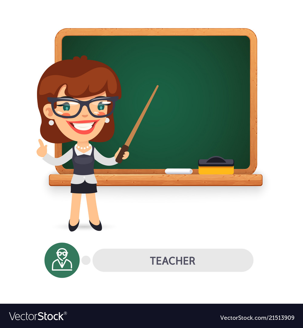 Female teacher at the school blackboard