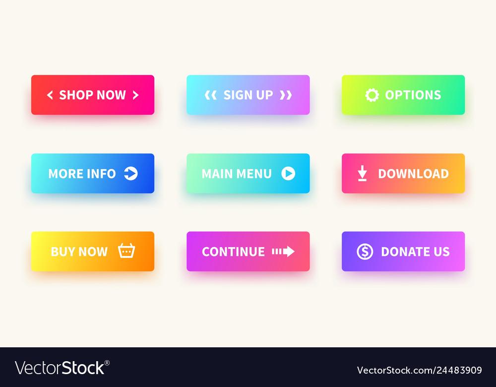 Gradient buttons user interface web button