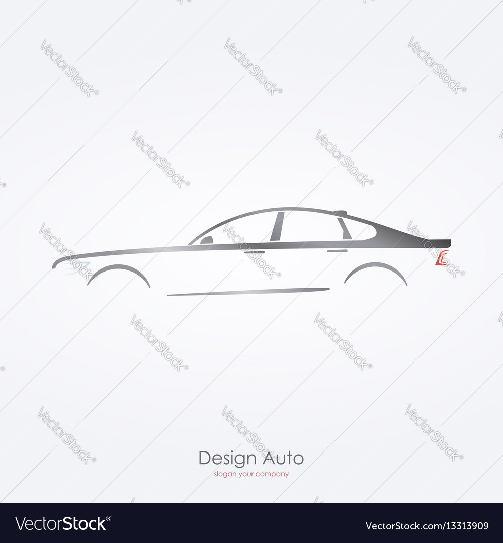 Gray car silhouette side view of luxury sedan vector image