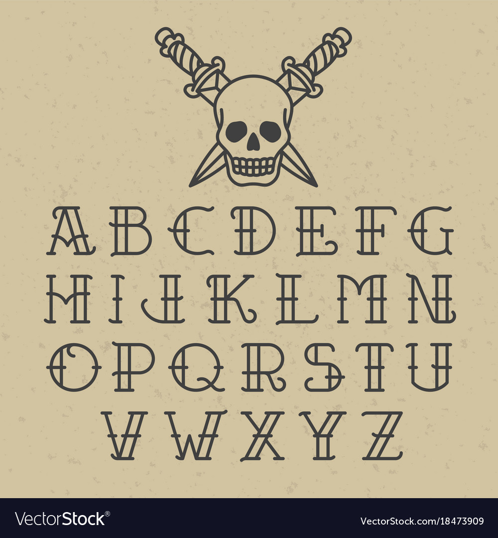 Old school tattoo alphabet royalty free vector image old school tattoo alphabet vector image thecheapjerseys Images