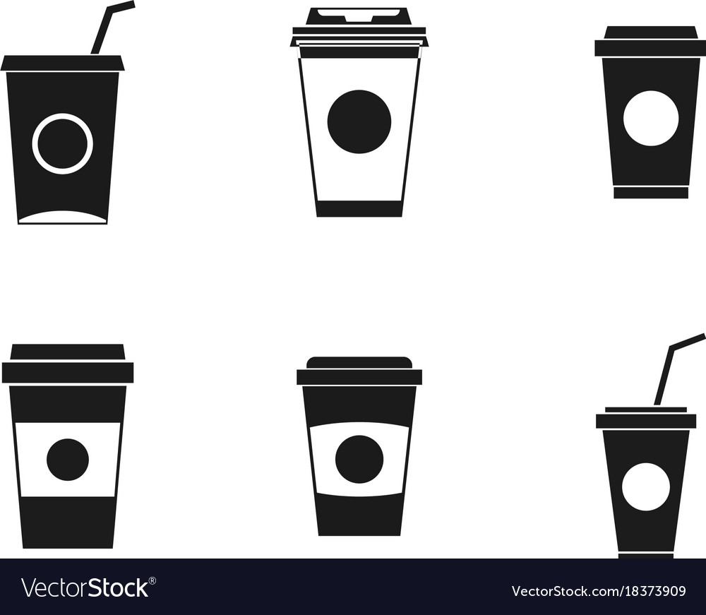 Plastic cup icon set simple style
