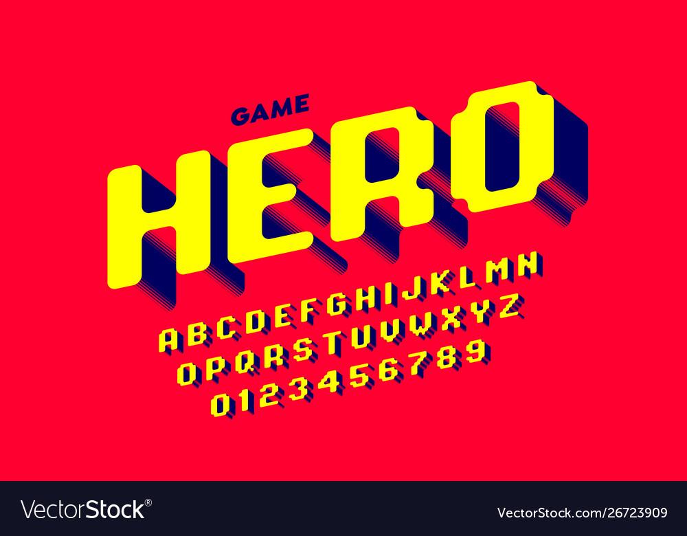 Retro Computer Game Style Font Design Alphabet Vector Image