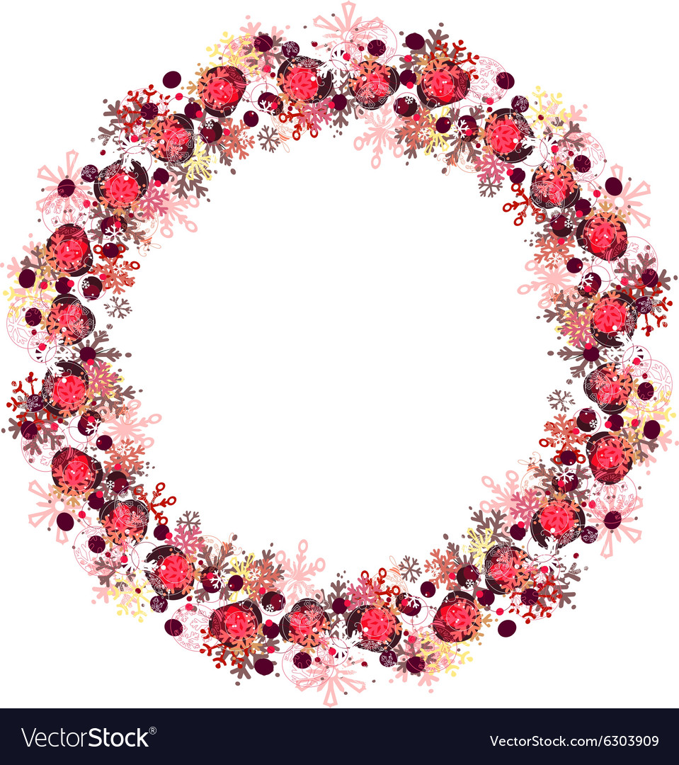 Round frame with different red snowflakes