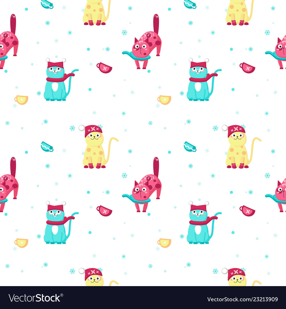 Seamless pattern with cute winter cats