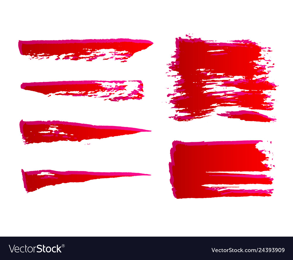 Set of hand painted red ink brush strokes grunge