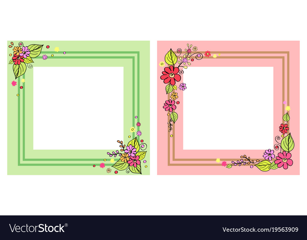 Set of photo frames in pink and green color Vector Image