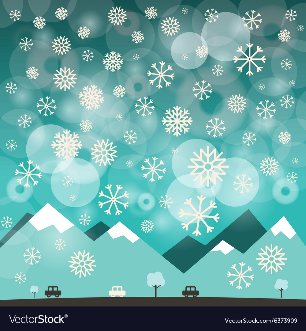Winter Blue Background with Snowflakes of M
