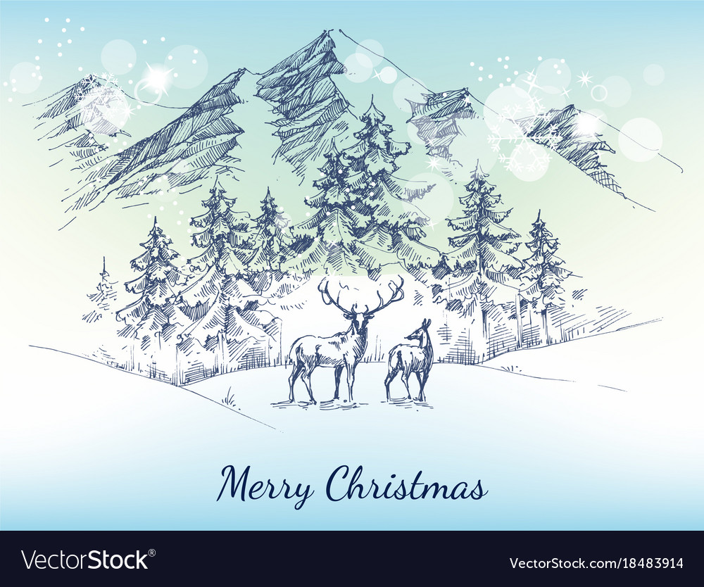 Christmas card winter landscape mountains vector image