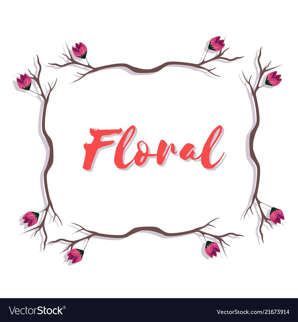 Floral pink flower branch design white background